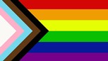 rainbow flag with transgender and BIPOC stripes